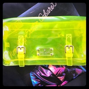 KATE SPADE See-through Neon Yellow Clutch! RARE!👽